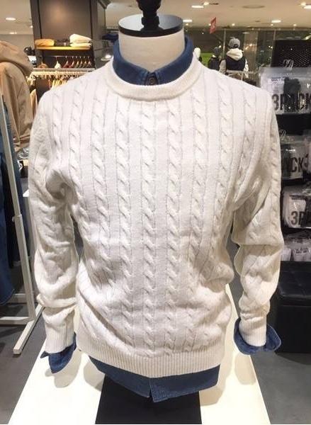 Áo len nam vặn thừng xuất khẩu Polham Hàn quốc màu trắng sữa
