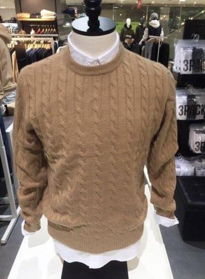 Áo len nam vặn thừng xuất khẩu Polham Hàn quốc màu be