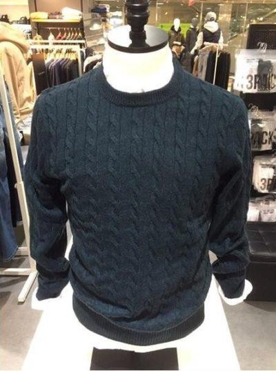 Áo len nam vặn thừng xuất khẩu Polham Hàn quốc màu xanh