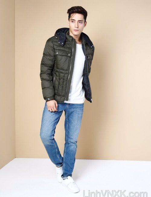 Áo khoác lông vũ nam xuất khẩu Colin màu xanh rêu