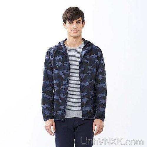 Áo khoác gió nam rằn ri Uniqlo màu xanh navy