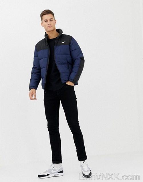 Áo khoác phao nam xuất khẩu Hollister màu xanh navy