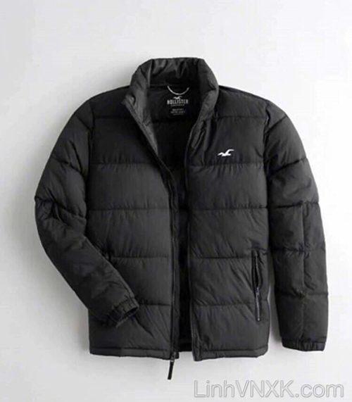 Áo khoác phao nam xuất khẩu Hollister màu đen trơn