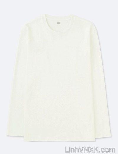 Áo thun nam dài tay xuất khẩu Uni màu trắng