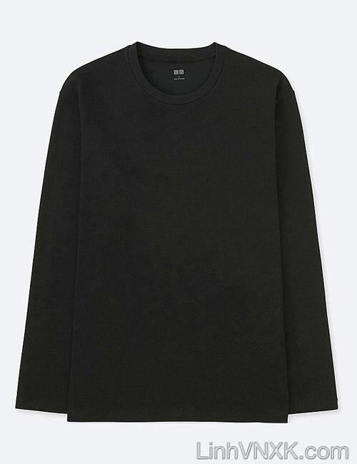 Áo thun nam dài tay xuất khẩu Uni màu đen