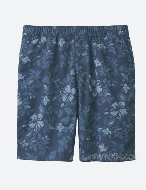 Quần sooc nam cạp chun Uniqlo màu xanh navy họa tiết