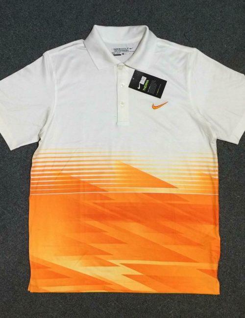 Áo thun polo nam Nike xuất khẩu trắng pha cam
