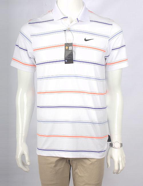 Áo thun polo nam Nike xuất khẩu trắng kẻ cam