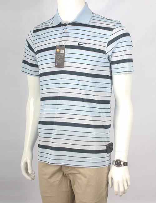 Áo thun polo nam Nike xuất khẩu xanh nhạt kẻ đen