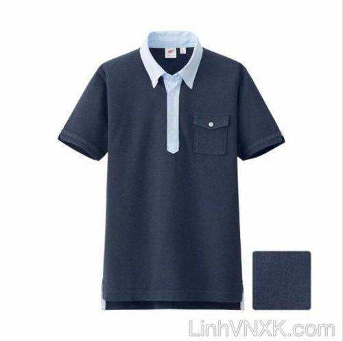 Áo polo nam cổ sơ mi uni màu xanh navy