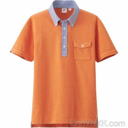 Áo polo nam cổ sơ mi uni màu cam