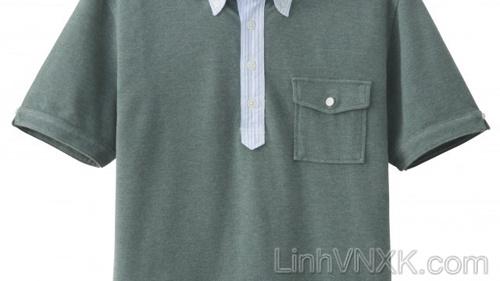 Áo polo nam cổ sơ mi Uni màu xanh rêu