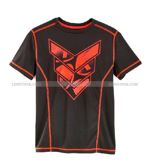Áo thun nam thể thao cổ tròn xuất Mỹ Exertek màu đen