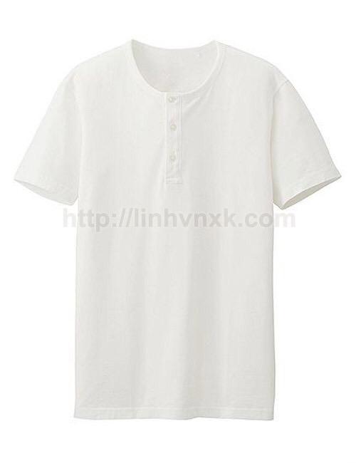Áo thun nam cổ trụ Uniqlo supima xuất khẩu màu trắng