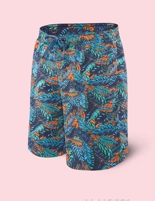 quần đi biển 2in1 xanh cam họa tiết
