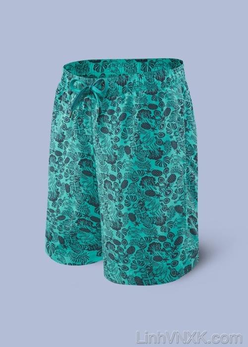 quần đi biển 2in1 xanh họa tiết