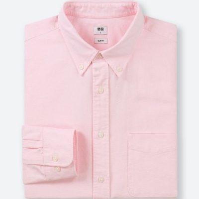 Áo sơ mi nam dài tay oxford Uni xuất Nhật màu hồng
