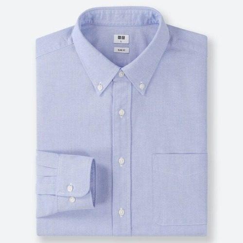 Áo sơ mi nam dài tay oxford Uni xuất Nhật màu xanh dương