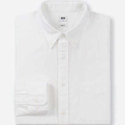 Áo sơ mi nam dài tay oxford Uni xuất Nhật màu trắng