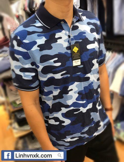Áo nam có cổ rằn ri xanh navy xuất mỹ