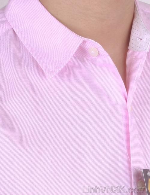 Áo sơ mi nam cộc tay xuất khẩu Beverly Hill Polo Club hồng kẻ tăm