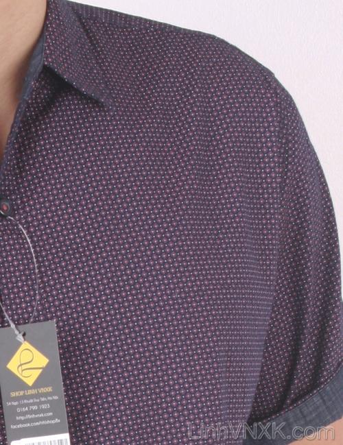 Áo sơ mi nam cộc tay xuất khẩu Beverly Hill Polo Club họa tiết hoa tím