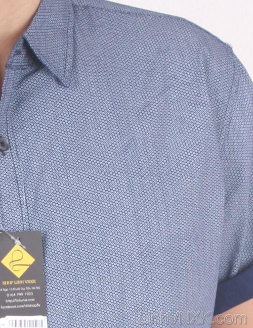 Áo sơ mi nam cộc tay xuất khẩu Beverly Hill Polo Club navy sáng họa tiết