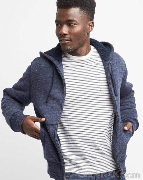 Áo khoác nỉ lót lông GAP hàng hiệu cao cấp màu xanh navy xước