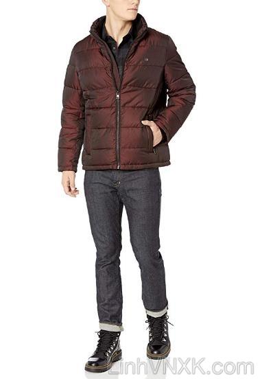 Áo khoác phao nam xuất khẩu CK màu đỏ mận