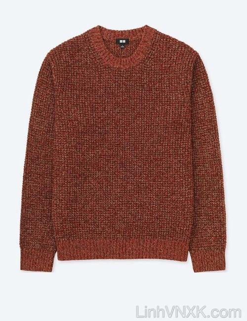 Áo len dày cổ tròn xuất nhật Uni màu đỏ cam