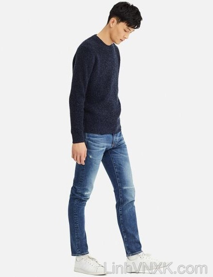 Áo len dày cổ tròn xuất nhật Uni màu xanh navy