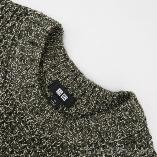 Áo len dày cổ tròn xuất nhật Uni màu rêu