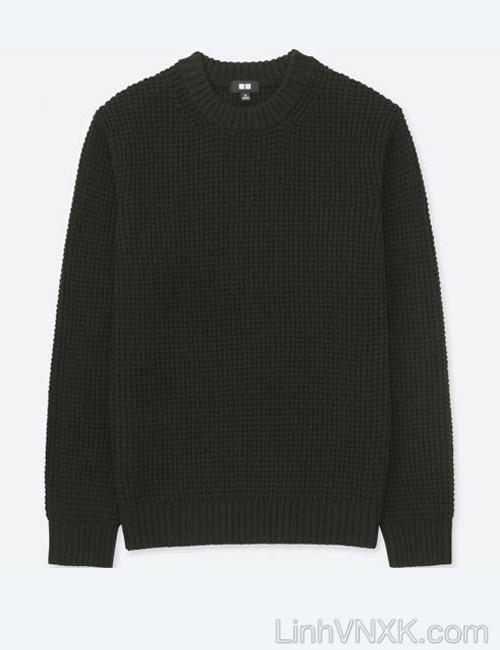 Áo len dày cổ tròn xuất nhật Uni màu đen