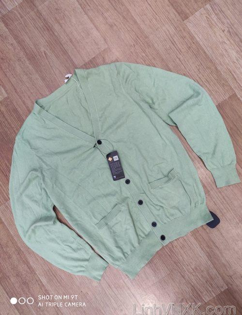 Áo cardigan len nam Uni xuất Nhật xanh cây