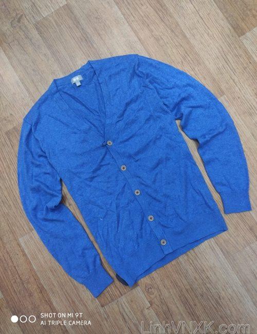 Áo cardigan len nam Uni xuất Nhật xanh blue