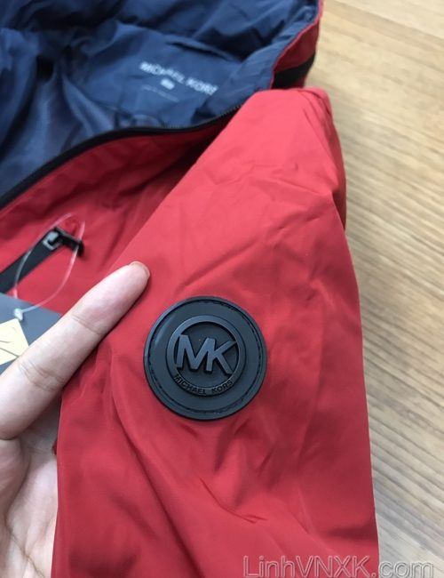 Áo khoác gió giấu mũ 2 lớp Michael Kors màu đỏ