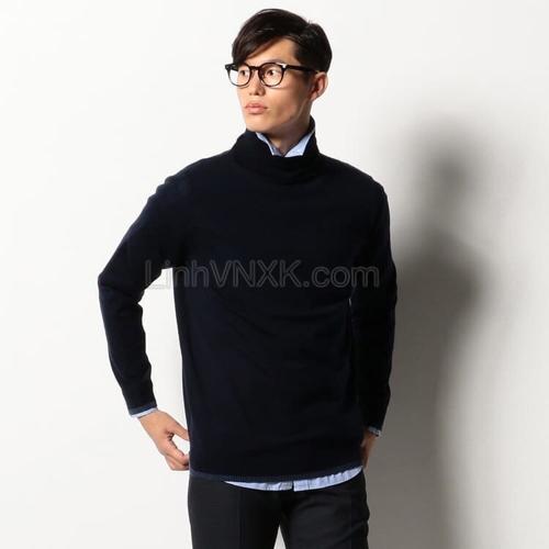 Áo len nam cổ lọ Nhật Bản cao cấp màu xanh navy