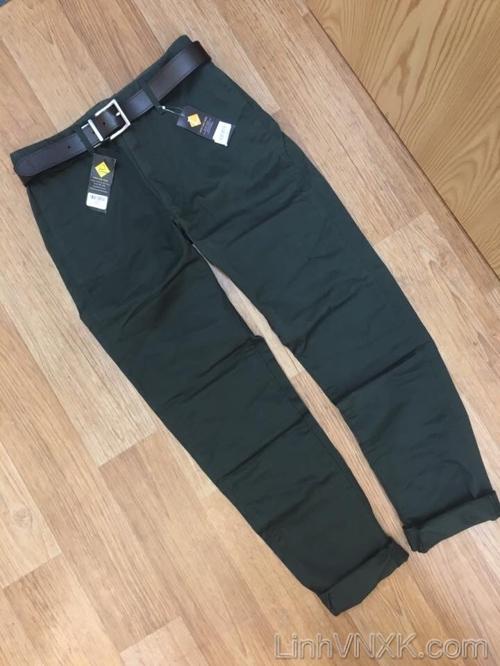 Quần kaki Uni xanh rêu dáng tapered fit