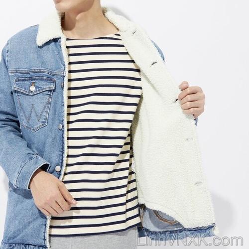 Áo khoác bò lót lông Wrangler xuất Nhật màu xanh jean