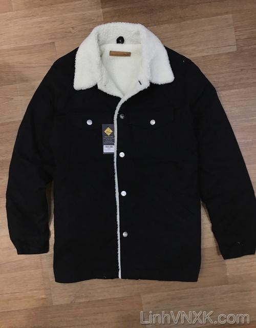 Áo khoác bò lót lông Wrangler xuất Nhật màu đen