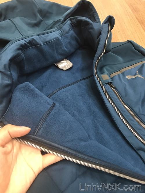 Áo khoác nỉ thể thao puma màu xanh cổ vịt