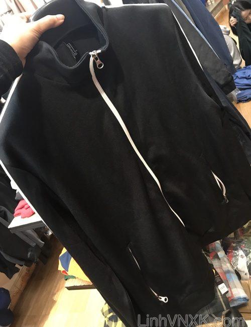 Áo khoác nỉ thể thao đen sọc trắng