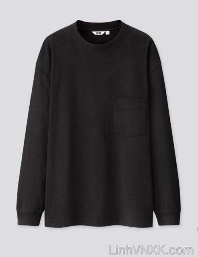 Áo thun dài tay cổ tròn Uni màu đen