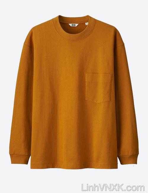 Áo thun dài tay cổ tròn Uni màu cam đất