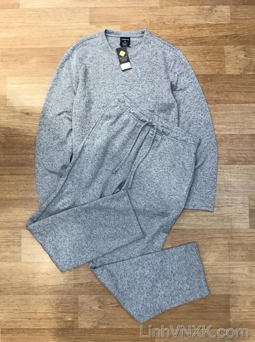 Bộ quần áo len nỉ nam xuất khẩu màu xám