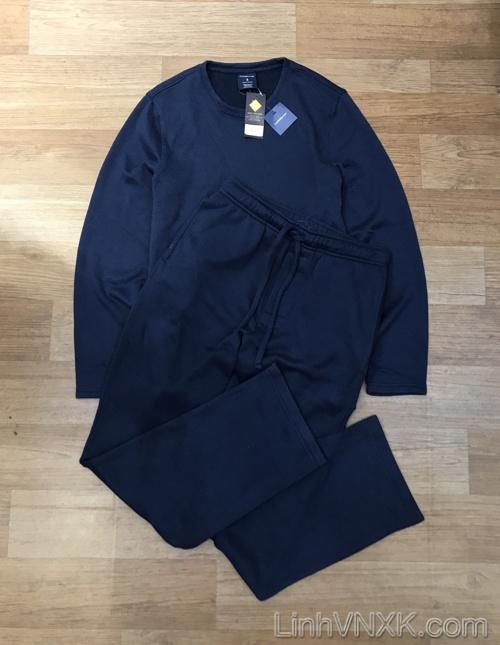 Bộ quần áo nỉ len màu xanh navy xuất khẩu