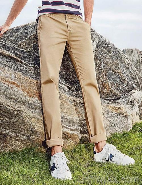 Quần kaki nam Hàn quốc Giordano màu be