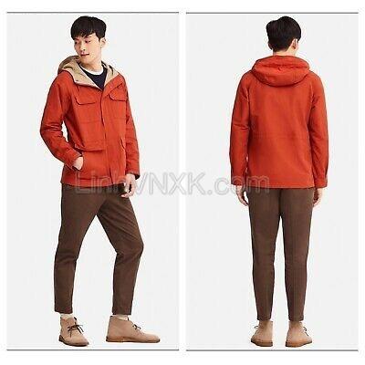 Áo khoác kaki nam dáng Parka xuất Nhật màu cam
