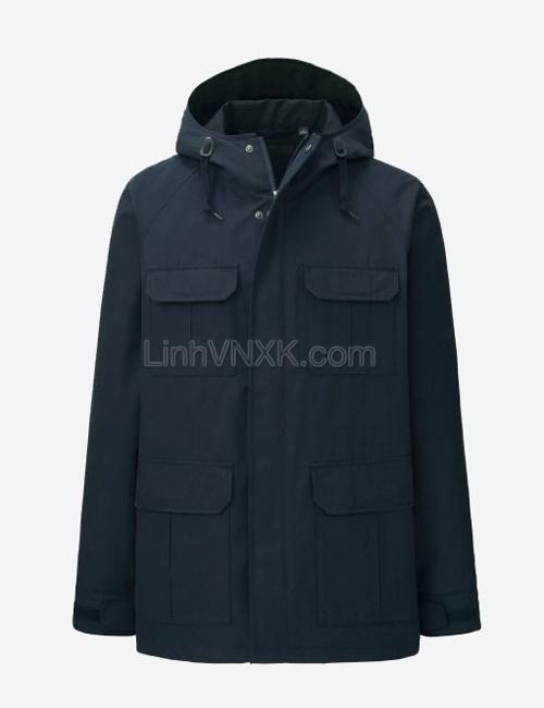 Áo khoác kaki nam dáng Parka xuất Nhật xanh navy