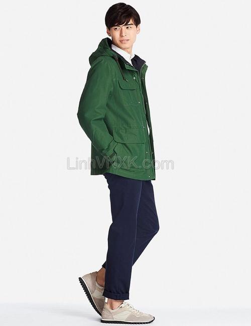 Áo khoác kaki nam dáng Parka xuất Nhật xanh rêu